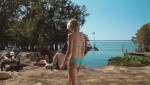 "Sara Paxton in a Blue Bikini from the Movie ""Shark Night"""