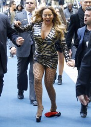 Mariah Carey - Cleavage, Mini-skirt, & Fishnets Out And About in New York (5/16/16)