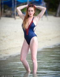 Lindsay Lohan Wearing a Swimsuit at a Beach in Mauritius - June 2016