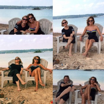 Robin Meade at the beach with Jennifer Westhoven