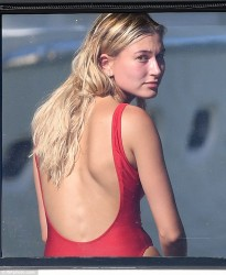 Hailey Baldwin - Wearing a Swimsuit on a Yacht in Miami 7/4/16
