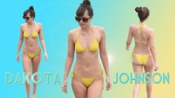 Dakota Johnson - Yellow Bikini Wallpaper