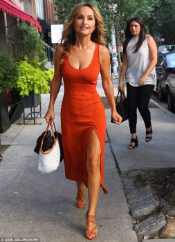 Giada De Laurentiis - Wears A Low-cut Orange Dress Out In NYC (8/16/16 )