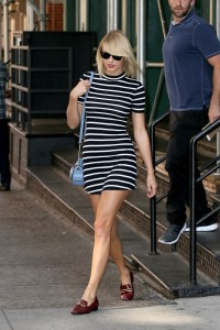 Taylor Swift - striped short dress in NYC - 09/14/16