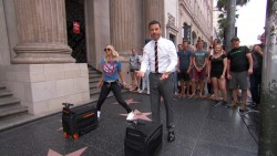 Kaley Cuoco vs. Jimmy Kimmel in Suitcase Race x49