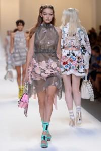 Gigi Hadid Walking The Runway at The Fendi Spring/Summer 2017 Fashion Show in Milan - 9/22/16
