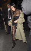 Kim Kardashian - Out for dinner in Paris *See-Thru Lace Pants* 10/1/16