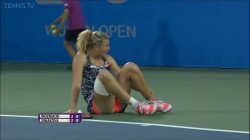 Katerina Siniakova falls and gives ass shot vs. Caroline Wozniacki x11