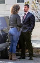 Jennifer Lopez wearing tight jeans on the set of Shades of Blue in Queens, New York - 11/1/16