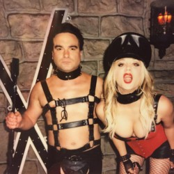 Kaley Cuoco Dressed as a Dominatrix on the Set of The Big Bang Theory